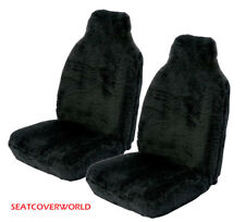 Car Van Front Pair of LUXURY BLACK Faux FUR Furry Fluffy Seat Covers