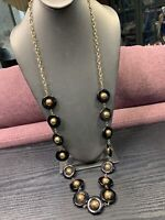Vintage Unusual Black Gold Beaded Extra Long  Chain Sweater Necklace 40""