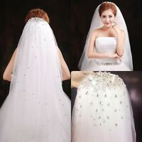 New Shining White/Ivory Rhinestone Crystal Wedding Bridal Veil Elbow With Comb