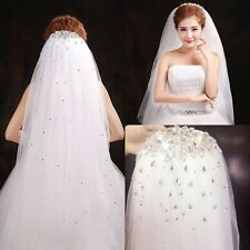 New Shining White/Ivory Rhinestone Crystal Wedding Bridal Veil Elbow With Comb