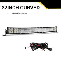 """Quad Row 32inch Curved LED Light Bar Combo OffRoad Truck Lamps 30"""" +Wiring kit"""