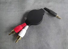 Audio Adapter Kabel 2 Chinch auf 3,5 mm Klinke RCA Jack aufrollbar 1,3 m 1