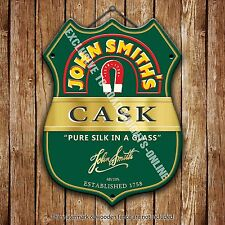 John Smith's Cask Beer Advertising Bar Pub Metal Pump Badge Shield Steel Sign