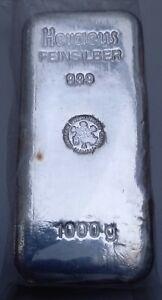 Silberbarren Heraeus 1000g / 1 Kg Feinsilber 999