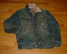 Vintage Volcom Workwear Distressed Sherpa Lined Denim Jean Jacket Men S Nice!!!