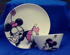 Zak! Designs Disney Minnie Mouse Plate & Bowl Plastic Melamine Pink/White/Black