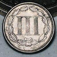1866 Three Cent Nickel Piece 3C High Grade Choice Good Civil War US Coin CC5104