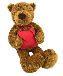 "Gund Heads & Tales Brown Teddy Bear Plush 24"" Holding Red Envelope Animal Gift"