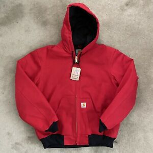 NWT Carhartt USA Made J140 Flannel-Lined Duck Active Jacket Medium Red