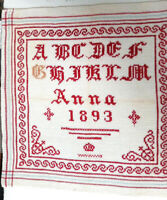 ANTIKES STICKMUSTERTUCH ANNA 1893 Berlin Kreuzstich ca. 32 x 32 cm sehr fein