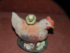 ANTIQUE PAPIER PAPER MACHE EASTER CANDY CONTAINER HEN ON NEST WITH CHICKS GERMAN