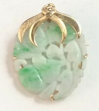 "14K YELLOW GOLD PIN BROOCH PENDANT, CARVED WHITE GREEN JADE LEAVES, 1 5/16"" X 1"""