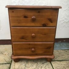 #76 Pine bedside chest of three drawers