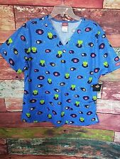 Dickies Ladies' V-Neck Scrub Top XL Frogs/Lilly Pads Blue Free 2-3 Day Ship NWT