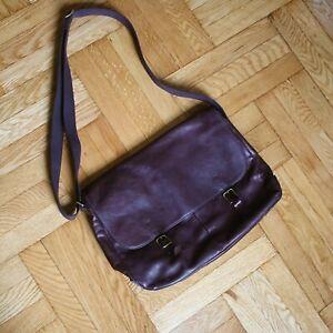 Fossil - Messenger Cross Body Laptop Bag - Leather - Dark Brown