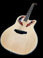 NEW NATURAL OVATION STYLE 6 STRING ACOUSTIC ELECTRIC FLAME ROUND BACK GUITAR
