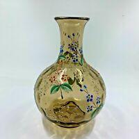 Rare MOSER amber coin dot Bohemian Art Glass enameled vase Victorian floral