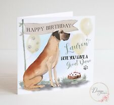 Great Dane Personalised Birthday Card - Pets Dog Lovers