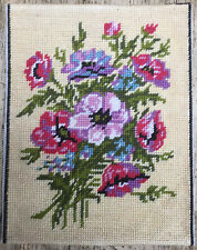 Vtg Completed Hand Embroidered Tapestry Floral Display Flowers Anemones