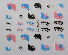 Accessoire ongles :nail art,Stickers autocollants, dentelle rose, bleu et noir