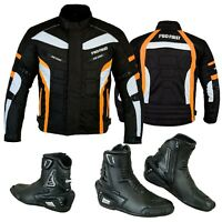 Mens Motorbike Textile Jacket Waterproof Motorcycle Leather Shoes Touring Boot