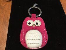 NEW Coach Magenta/White Suede Leather OWL Keychain/keyring/Keyfob/Charm