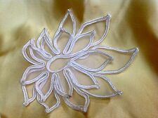 """APPLIQUE 3-D FLOWER SOUTACHE CORD on SHEER ORGANZA layered  5"""" WHITE 1pc"""