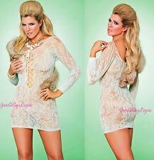 Plus Size LIME LACE MINI DRESS Fishnet Chemise Long Sleeve Lace-UP Front Queen
