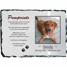 Pet Dog Photo Memorial Slate Plaque-Paw Prints Poem-Personalised-YOUR Picture!