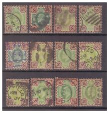 GB EDVII 4d green & brown x 12 stamps used