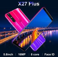 5.8'' Smart Phone X27Plus Large Screen Face Recognition 64GB 8 16MP Dual SIM HD