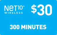NET 10 REFILL  Prepaid $30 Refill Top-Up , AIRTIME  RECHARGE  300 MINUTES 60 day