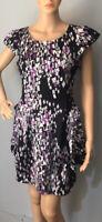 Lipsy Womens Mini Party Tulip Dress Uk Size 10 Black Purple White Grey BNWOT