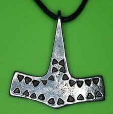 Danish Hammered Thor's Hammer Mjölnir Silver Pewter Pendant Necklace