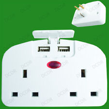 2 Pin Euro to 3 Pin UK Twin Mains Socket Travel Adaptor inc 2 USB Charging Ports