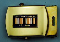 NAVY GULF WAR VETERAN tan Belt & Brass Buckle USN 246