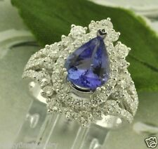 3.80 ct 18k White Gold Pear Shape Natural Tanzanite  Diamond Ring 6.00 Gram