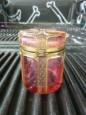 VINTAGE BOHEMIAN CZECH MOSER GLASS COVERED BOX ACID CUT GOLD ETCHING  BACCARAT