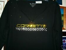 """Corvette Ladies silver  Checkered line """" CORVETTE' in Crystal  great for racing"""
