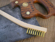 BENT WOODEN HANDLE BRASS BRUSH perfect for fine detail Cleaning Made In USA