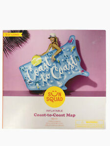Sun Squad Inflatable Coast to Coast Map Pool Float, 5.3' Long, New in Box!