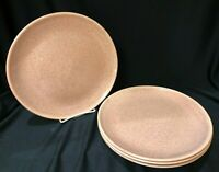 Set of 4 Vintage California Pottery Dinner Plates Speckled Pink, Holiday