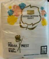 Vintage Perma Prest Percale Fitted Bottom Sheet Full Sears Sanforized White NOS