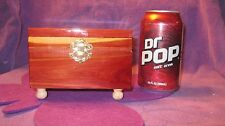 MINITURE CEDAR CHEST JEWELRY BOX WITH PURPLE  LINING