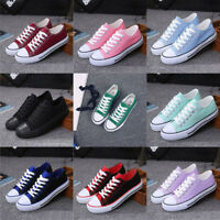 WOMEN'S CANVAS SHOES LADIES GIRLS TRAINERS CASUAL PLIMSOLLS LACE UP FLAT PUMPS