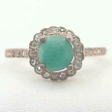 Genuine 1.35ctw Columbian Emerald & H-SI Diamond 14K Rose Gold 925 Silver Ring
