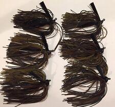 6 Custom Weedless 3/8 oz. Black Brown Pumpkin Living Rubber Bass Jigs Lure New