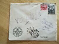 Enveloppe annotée Vervalen Abgereis Destination Biel Suisse Timbre Pays Bas 1933