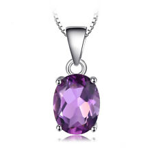 Oval Cut Natural Amethyst Pendant Sterling Silver