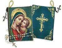 WOW Blessed Mary Madonna & Child Icon Cloth Tapestry Rosary Zipper Close Pouch